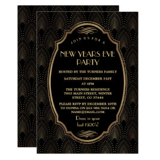 Charming Roaring 20s Great Gatsby New Year Party Card