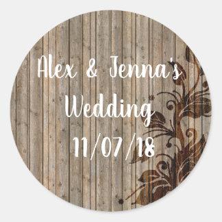 Charming Rustic Vines/Wood Look Wedding Stickers