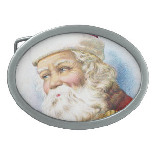 Charming Santa Claus with Toys Oval Belt Buckles