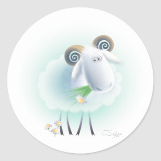 charming sheep classic round sticker
