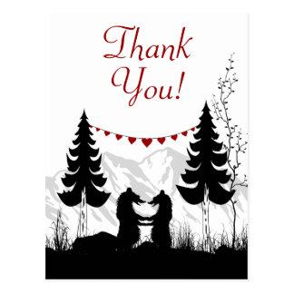 Charming Silhouette Mountain Bears Thank You Postcard