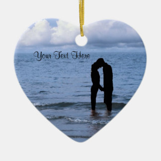 Charming Silhouette of Husband & Wife at the Beach Ceramic Heart Decoration
