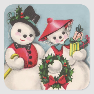 Charming Snowmen Couple Square Sticker