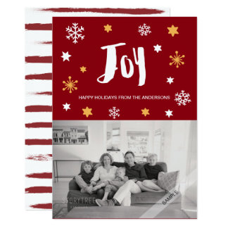 Charming Trendy Joy Deep Red Holiday Photo Card