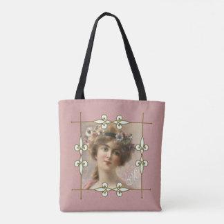 Charming Vintage Art Deco Monogram Victorian Lady Tote Bag