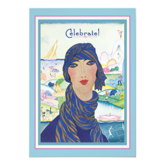 Charming Vintage Art Deco Woman Party Card
