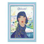 Charming Vintage Art Deco Woman Party 13 Cm X 18 Cm Invitation Card