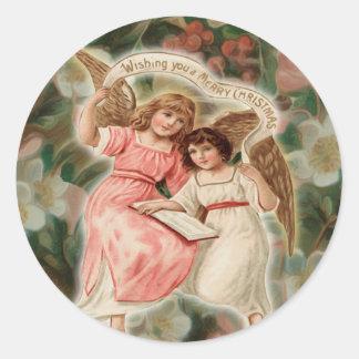Charming Vintage Cherub Angels Classic Round Sticker