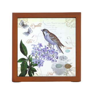 Charming Vintage French Bird Text Floral Collage Pencil/Pen Holder