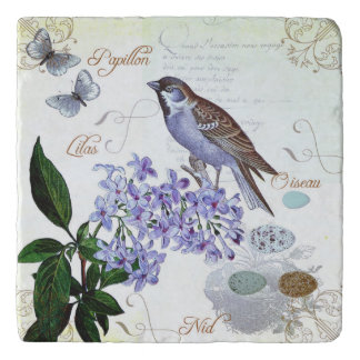 Charming Vintage French Bird Text Floral Collage Trivet