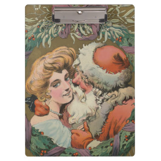 Charming Vintage Kissing Santa Christmas Wreath Clipboard