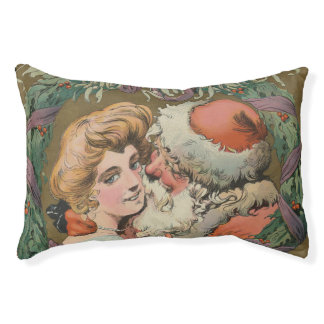 Charming Vintage Kissing Santa Christmas Wreath Pet Bed