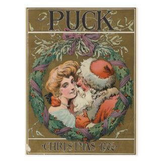 Charming Vintage Kissing Santa Christmas Wreath Postcard