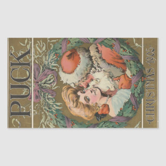Charming Vintage Kissing Santa Christmas Wreath Rectangular Sticker