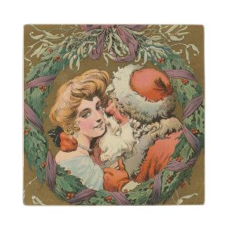 Charming Vintage Kissing Santa Christmas Wreath Wood Coaster