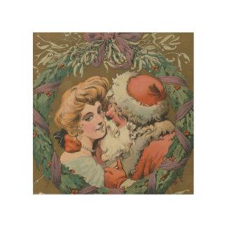 Charming Vintage Kissing Santa Christmas Wreath Wood Wall Art