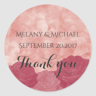 Charming watercolor romantic roses thank you classic round sticker