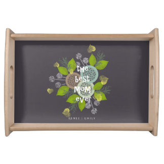 CHARMING WATERCOLOUR BOTANICAL FOR MOM MONOGRAM SERVING TRAY
