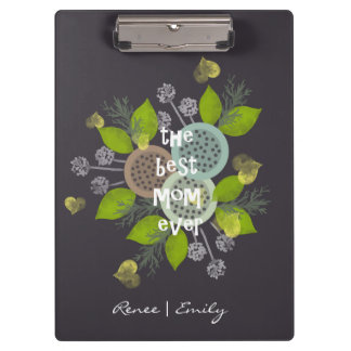 CHARMING WATERCOLOUR FLOWERS FOR MOM  MONOGRAM CLIPBOARD