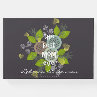 CHARMING WATERCOLOUR FLOWERS FOR MOM  MONOGRAM GUEST BOOK