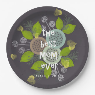 CHARMING WATERCOLOUR FLOWERS FOR MOM  MONOGRAM PAPER PLATE