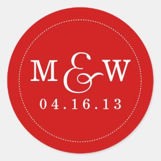 Charming Wedding Monogram Sticker - Apple Red