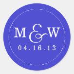 Charming Wedding Monogram Sticker - Royal Blue