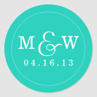 Charming Wedding Monogram Sticker - Turquoise