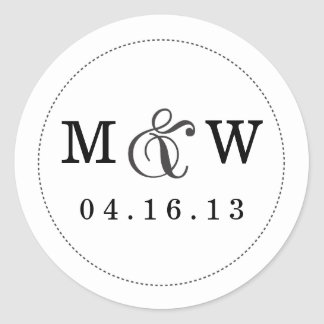 Charming Wedding Monogram Sticker - White