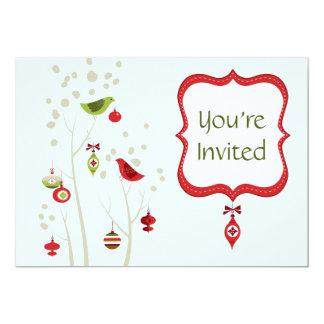 Charming Winter Birds Christmas Wedding Invitation