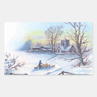 Charming Winter Scene 2 Rectangular Sticker
