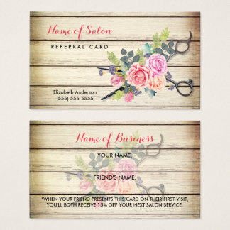 Charming Wood Scissors and Roses Referral Card