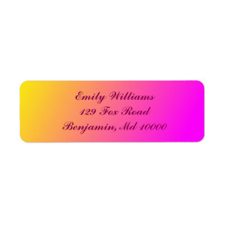 Charming Yellow and Pink Gradient Return Address Label