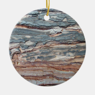 Charred Pine Bark Round Ceramic Decoration