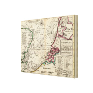 Chart of part of coast of England Stretched Canvas Print