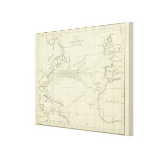 Chart of the Atlantic Ocean Stretched Canvas Print