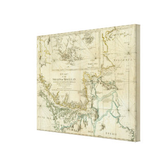 Chart Of The Straits Of Magellan Stretched Canvas Print