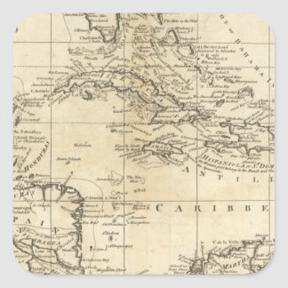 Chart of the West Indies 2 Square Sticker