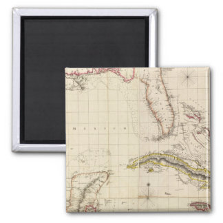 Chart of The West Indies and Spanish Dominions Square Magnet