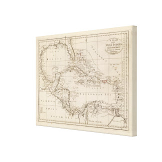 Chart of the West Indies Gallery Wrap Canvas