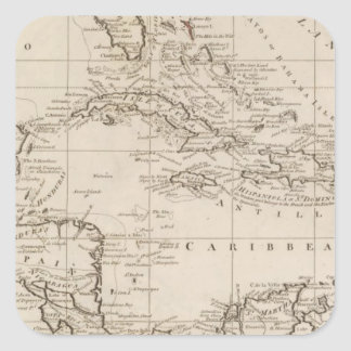 Chart of the West Indies Square Sticker