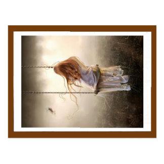 chart photo swing Bohemia red-headed young girl Postcard
