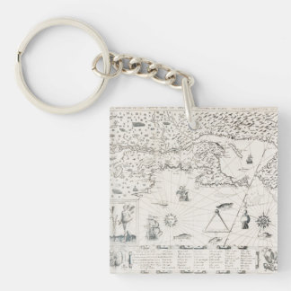 Chart Quebec America News-France by French Key Ring