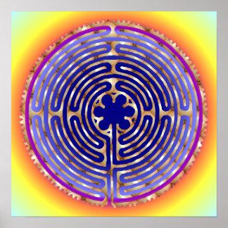 Chartres Labyrinth Pearl Light Paths Print