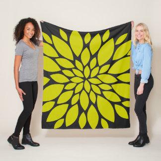 Chartreuse and Dark Grey Floral Burst Fleece Blanket