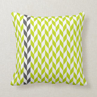 Chartreuse and Gray Abstract Herringbone Pillow Throw Cushions