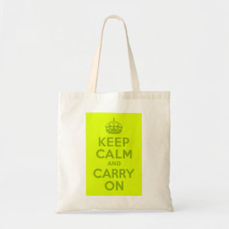 Chartreuse and Green Keep Calm and Carry On Tote Bag