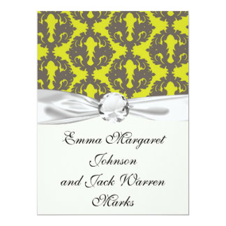 Chartreuse and Grey damask pattern Custom Invite