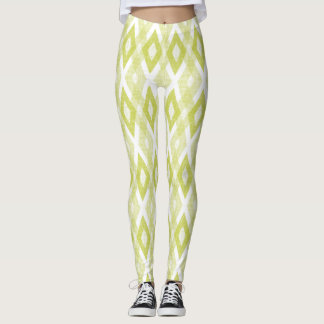 Chartreuse and White Grunge Harlequin Pattern Leggings