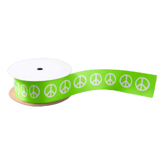 Chartreuse and White Peace Symbol Satin Ribbon